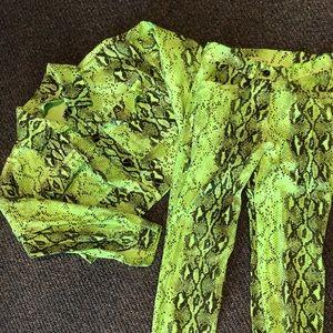 Neon Green Snakeskin 2 Piece Set (Boohoo)